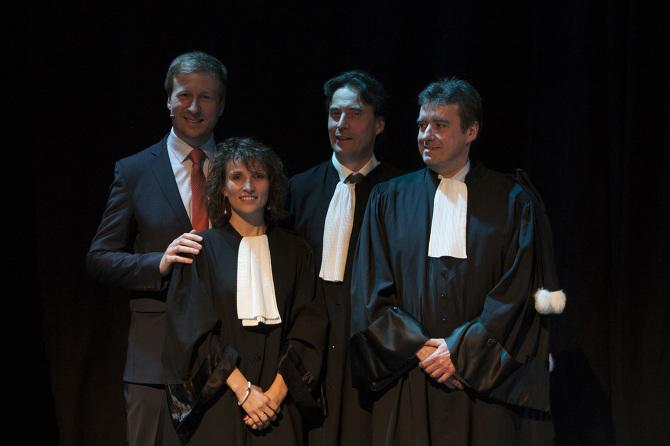 Rentrée solennelle du Barreau de Verviers 2017 (de gauche à droite) : Geoffrey DELIÉGE, orateur ; Laetitia CAMPAGNA (présidente du Jeune Barreau) ; Pierre HENRY (bâtonnier de Verviers) ; Jean-Marc ANDRÉ (bâtonnier de Versailles)