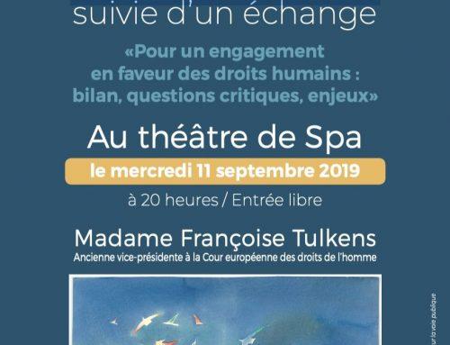 Conférence de Madame Françoise TULKENS, ancienne vice-présidente de la Cour européenne des droits de l'homme